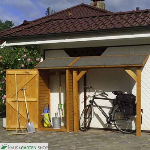 Garten - Schleppdach mit Anbauschrank kombiniert