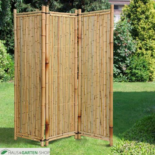 Bambusparavent Deluxe - natur  - Im Garten