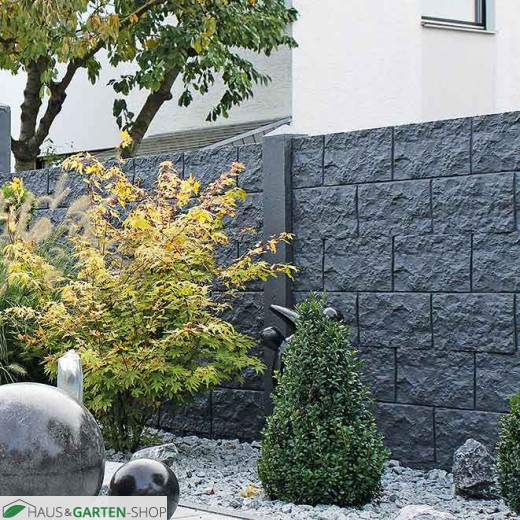 Betonzaun Motiv Casa Borsika Dunkelgrau/anthrazit