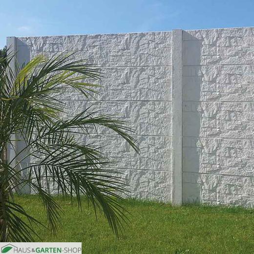 Betonzaun Motiv Flagstone | hellgrau als Gartensichtschutz
