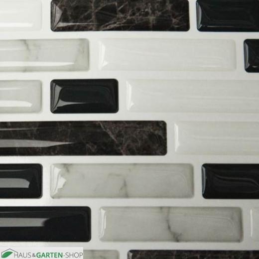 Glas-Mosaikfolie weiss-braun im Detail