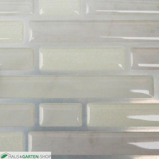 weiße Glasmosaik Fliesenfolie im Detail