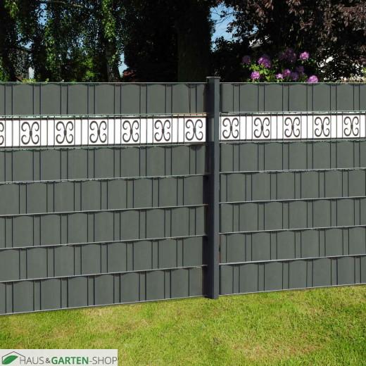 Sichtschutzzau anthrazit PVC Design Streifen Motiv Merano