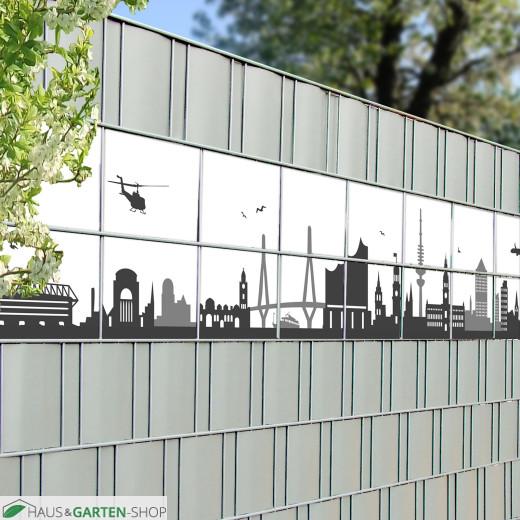 Hamburger Stadt-Motiv für den Gittermattenzaun