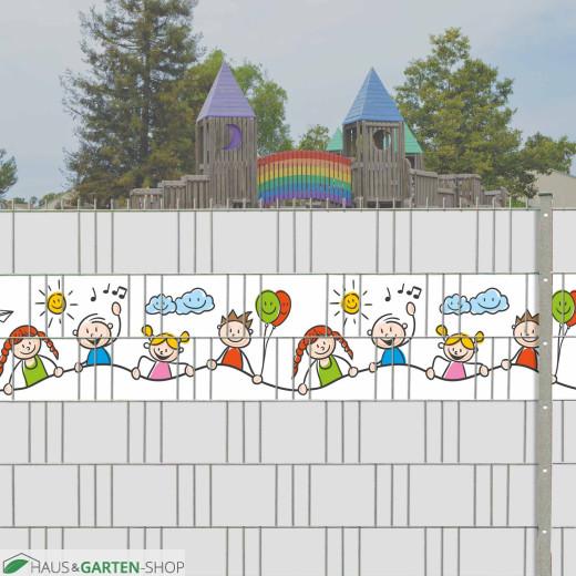Happy Kids Motiv im Gittermattenzaun