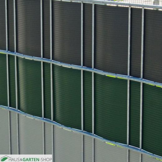 Sichtschutzstreifen aus Hart-PVC im Metallgitterzaun