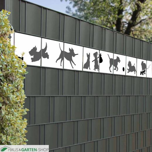 Zaun PVC Streifen mit spielenden Hunden