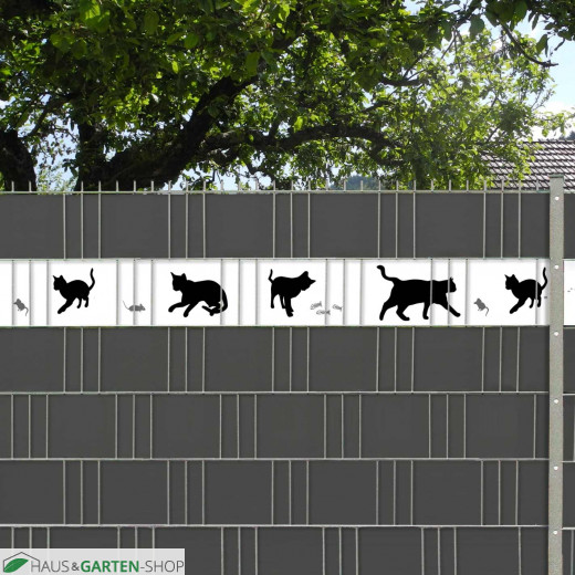 nicht durchscheinende Zaunblende mit Katzenmotiv