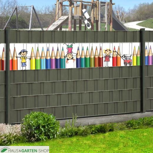 Lebhaftes Motiv Kita als Zaunblende für Kindergärten