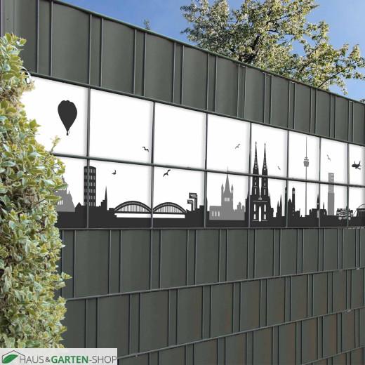 Kölner Stadtsilhouette für den Sichtschutz-Gartengitterzaun