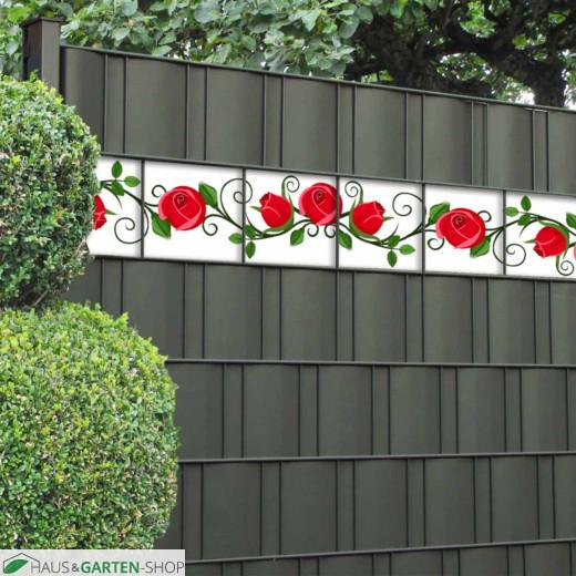 Zaunstreifen mit roten Rosen
