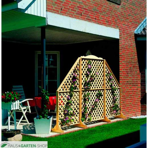 Sichtschutzspalier - Rustica aus Kiefernholz auf der Terrasse