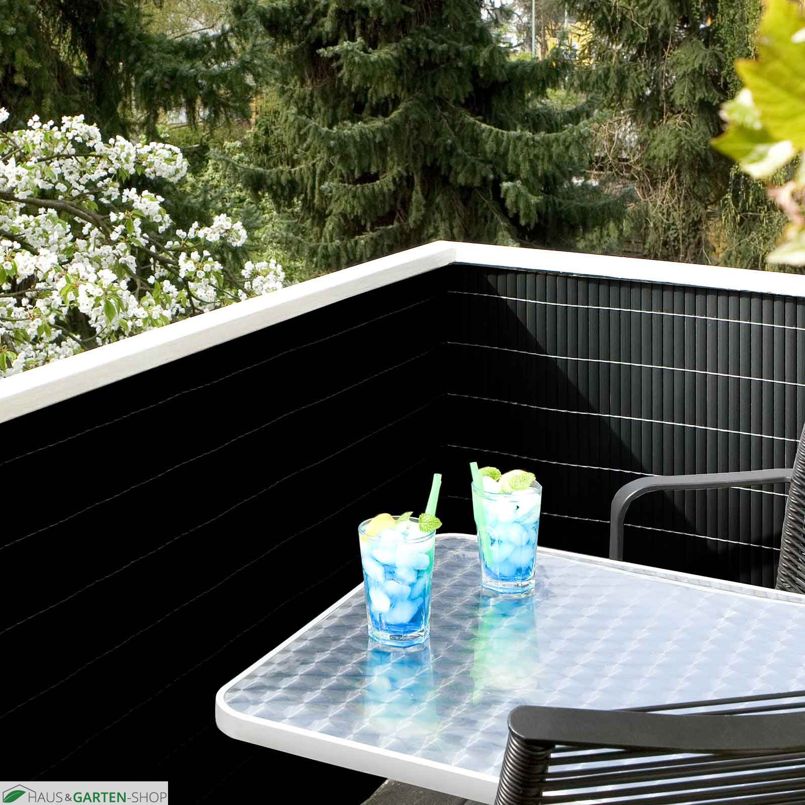 balkonsichtschutzmatte pvc anthrazit f r garten terrasse. Black Bedroom Furniture Sets. Home Design Ideas