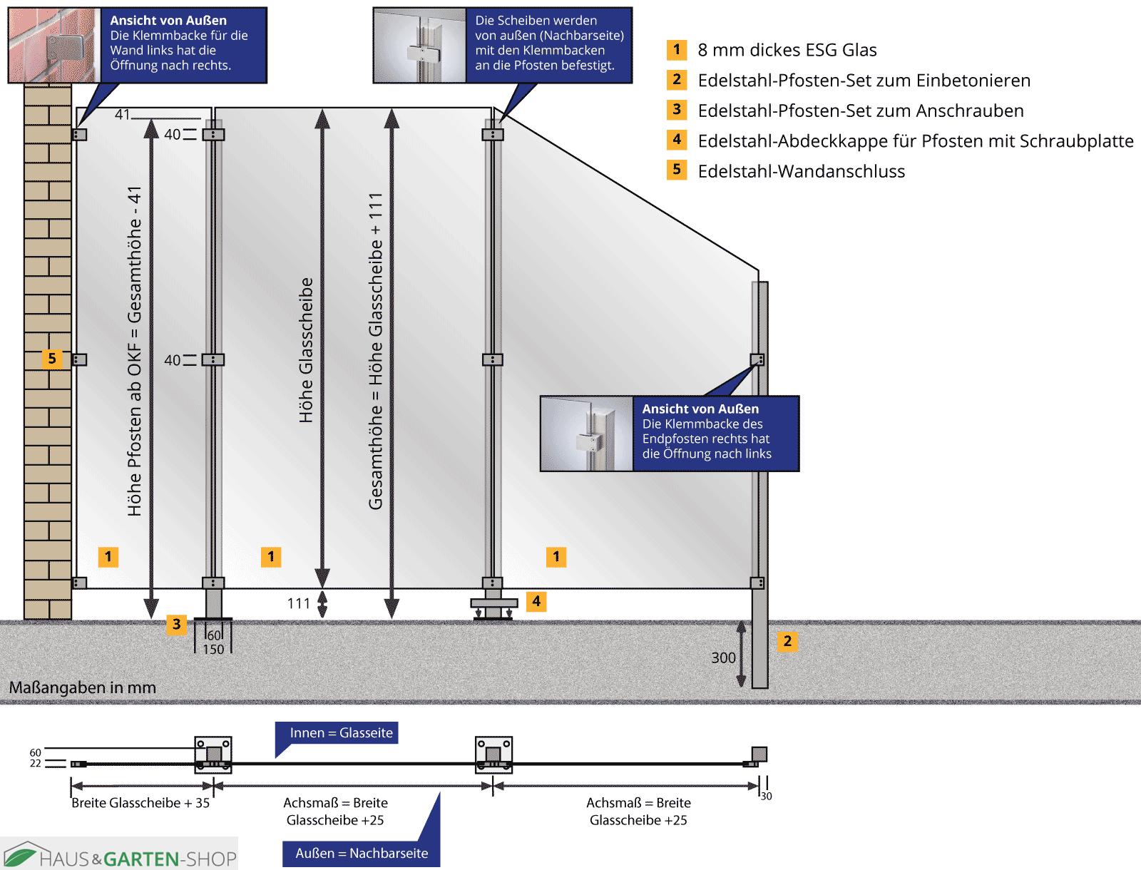 Edelstahl Pfostensystem Zur Montage Von Glaswanden