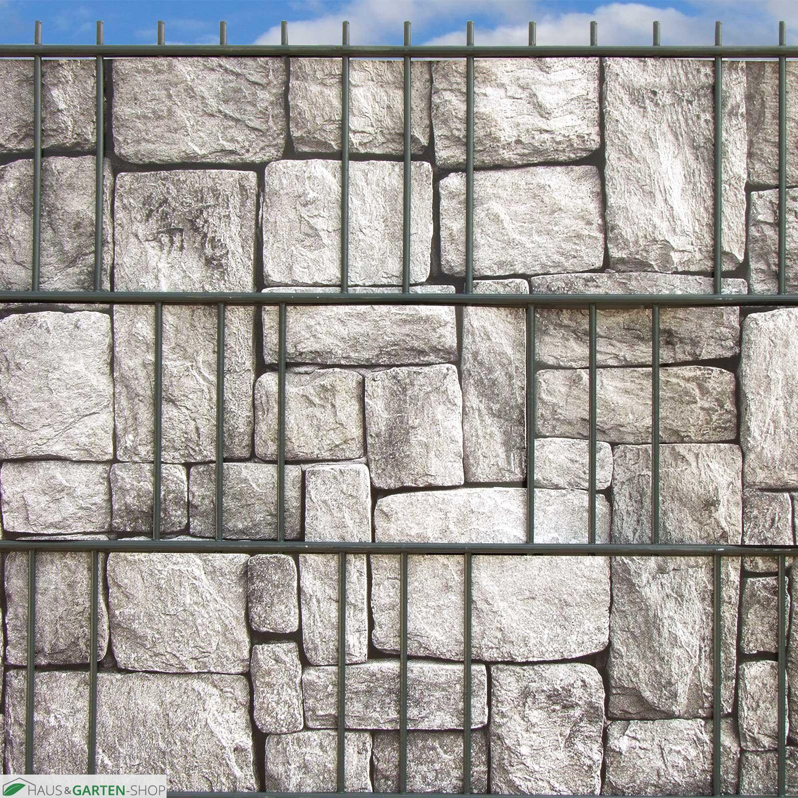 "PVC ""M tec print "" Flecht Sichtschutzsteifen Granitmauer Motiv"