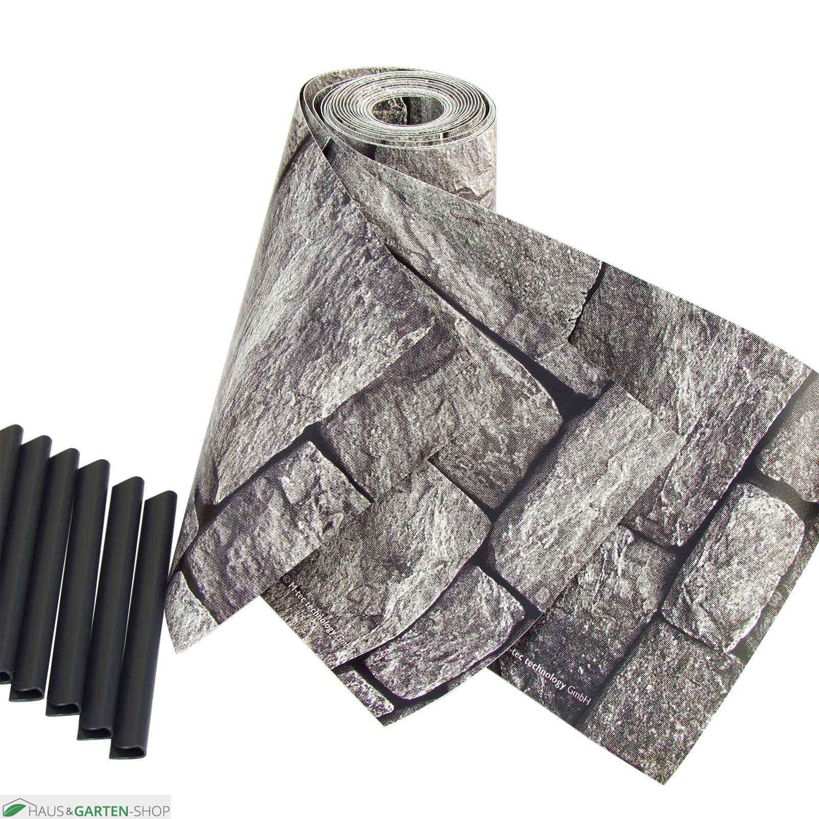 pvc m tec print flecht sichtschutzsteifen granitmauer motiv. Black Bedroom Furniture Sets. Home Design Ideas
