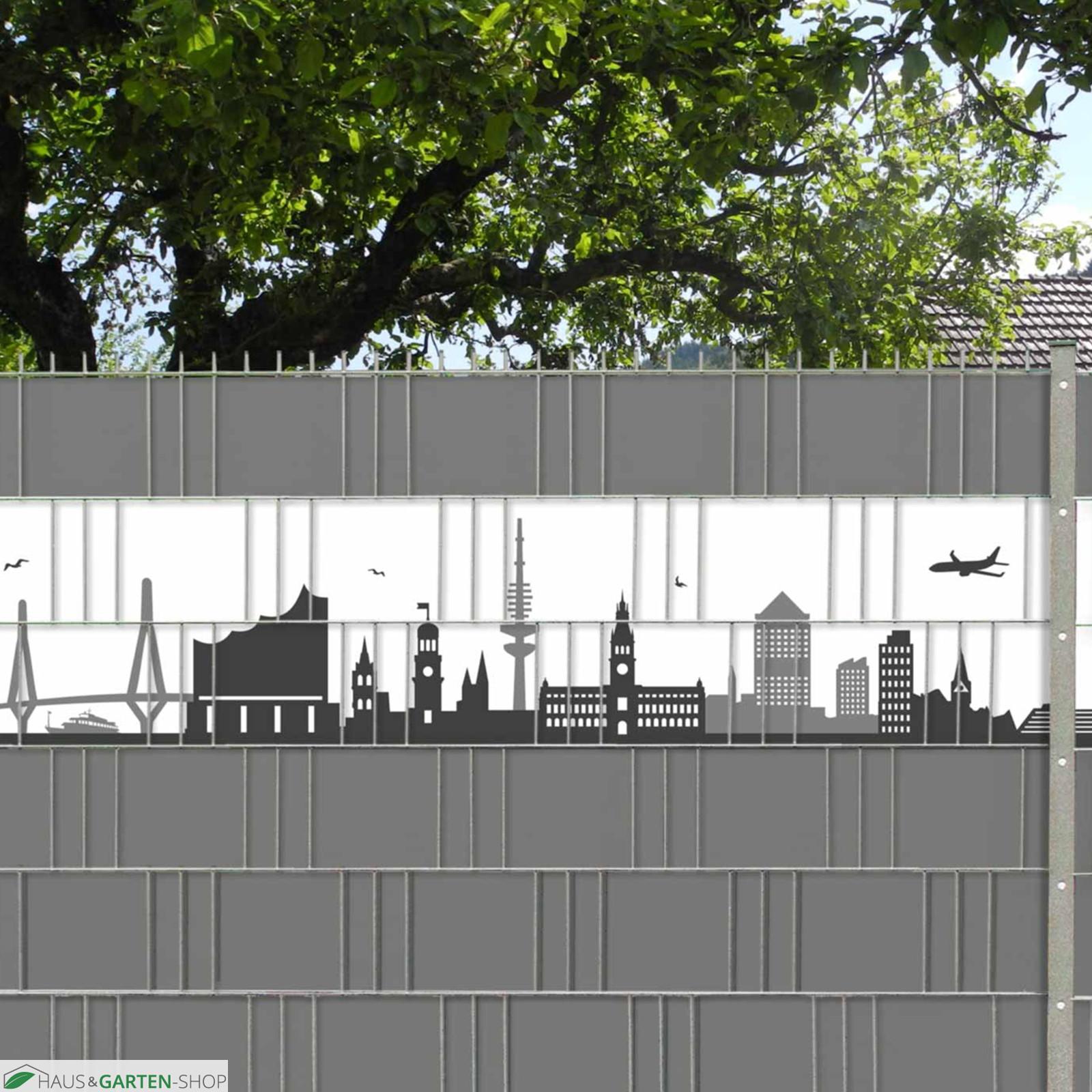 kreative sichtschutzstreifen mit der hamburger skyline. Black Bedroom Furniture Sets. Home Design Ideas