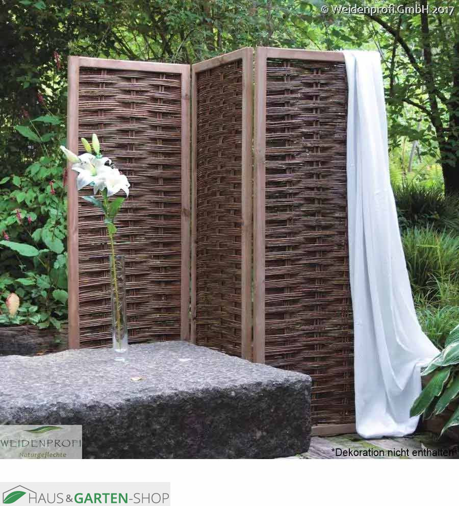 Weidengeflecht Paravent 2 4teiliger Sichtschutz Garten