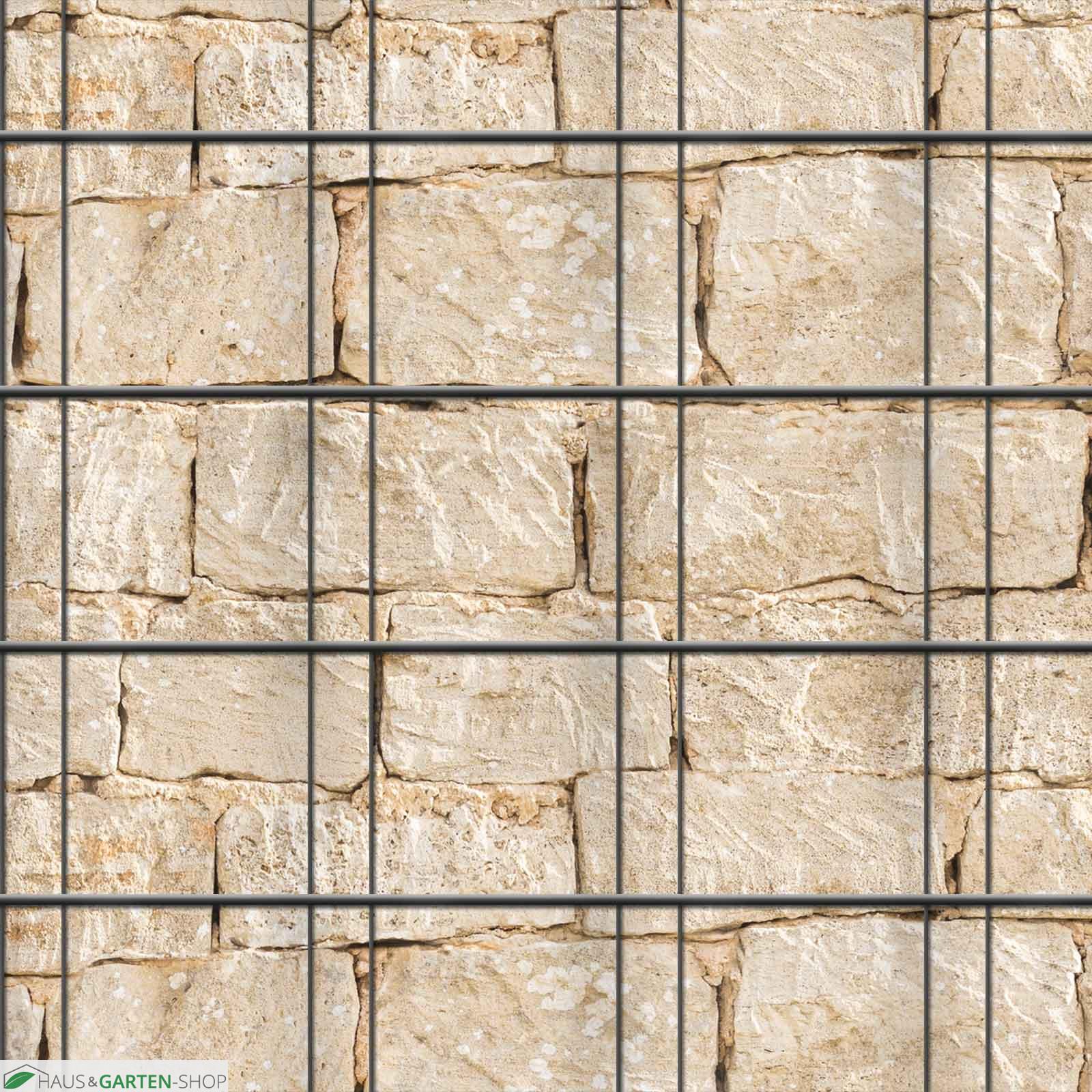 Sichtschutz Zaunsteifen mit Sandsteinmauer Motiv zum einflechten