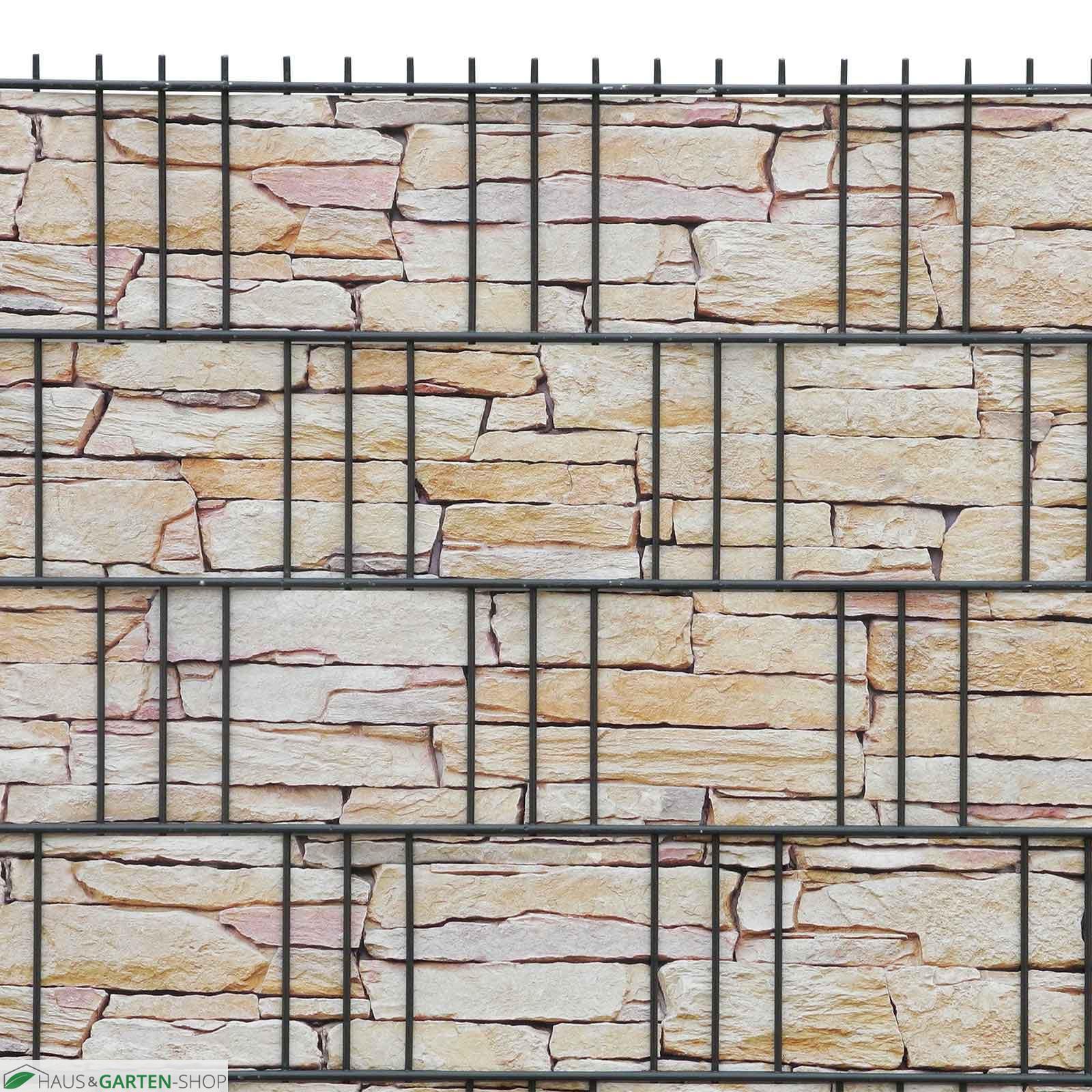 M tec print Weich PVC Sichtschutzstreifen Sandsteinmauer bedruckt