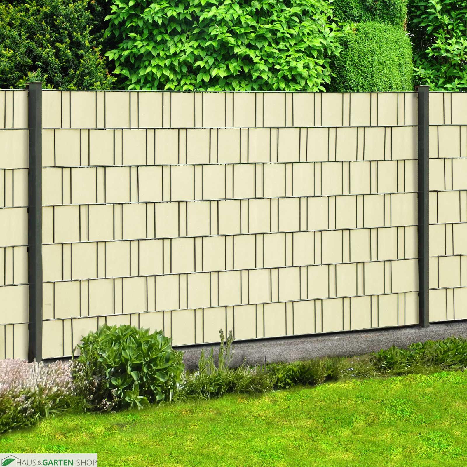 sichtschutzstreifen doppelstabzaun weich pvc blickdicht creme beige. Black Bedroom Furniture Sets. Home Design Ideas