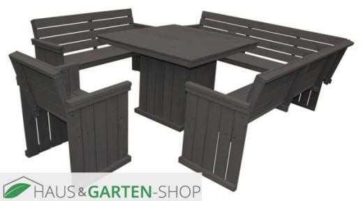 Holz Sitz-Garnitur St. Peter Ording anthrazit