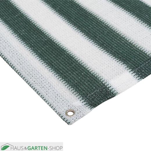 Balkonsichtschutz  mit Ösen grün weiß gestreift