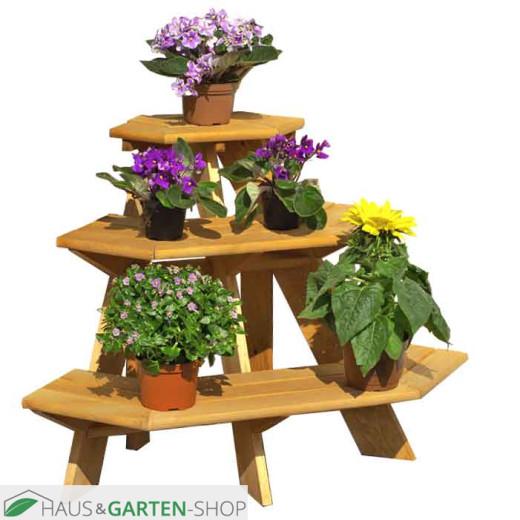 Blumenetagere aus Kiefernholz - Eckmodell