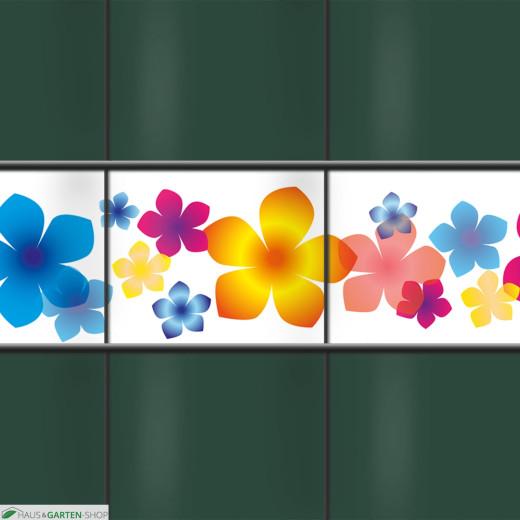 Dekorativer PVC Sichtschutz mit dem Motiv Bunte Blumen