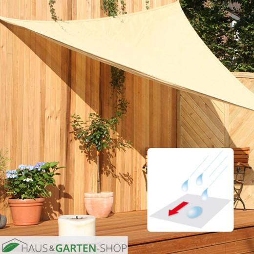Dreiecksonnensegel mit Regenschutz in  elfenbein