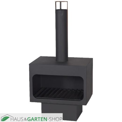 Gartenkamin-Arizona-schwarz-komplett