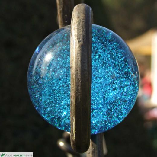 Rank - und Dekostange - Glaskugel Hellblau