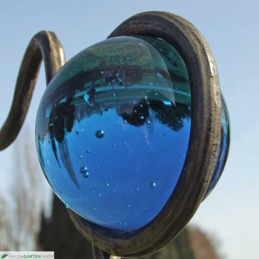 Rankstab handgeschmiedet Glaskugel Dunkelblau
