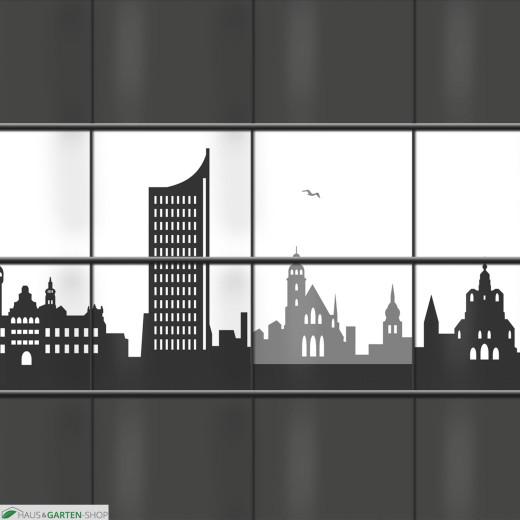 PVC Sichtschutz mit Leipzig Skyline