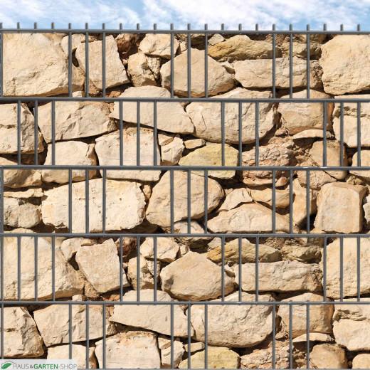 """""""M-tec print""""® Hart-PVC Streifen Sandsteinmauer Motiv im Gittermattenzaun"""