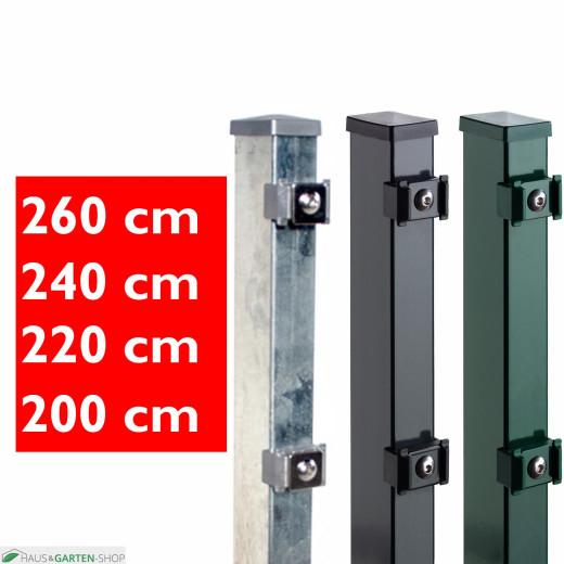 Rechteckpfosten mit Klemmen für Doppelstabmatten in verschiedenen Farben und Höhen