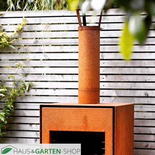 Gartenkamin Cortenstahl mit Rohr und Regenkappe