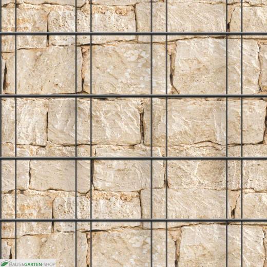 Muster Sandsteinmauer über drei Streifen vortlaufend