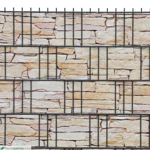 Bedruckte PVC  Sichtschutzstreifen Motiv Sandstein Tessin