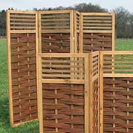 Paravent aus Holz, Weide und Bambus, für Haus und Garten