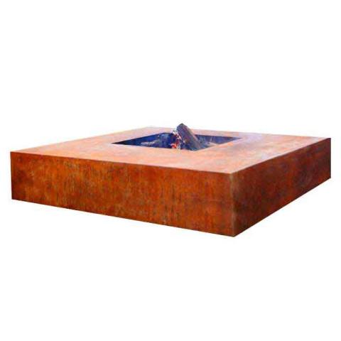 Feuertisch quadratisch Cortenstahl