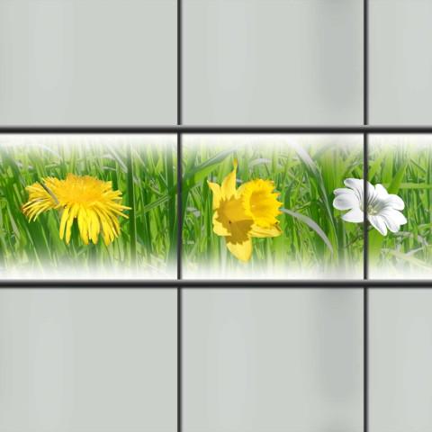 PVC Sichtschutz Streifen bedruckt mit dem Motiv  Frühlingswiese