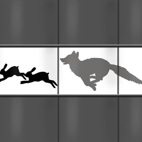 Kreativstreifen - Tiermotiv Fuchs und Hase