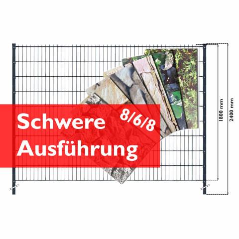 Doppelstabmattenzaun Set mit Hart-PVC print Streifen