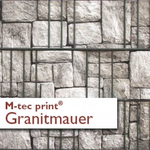 M-tec print PVC Sichtschutzstreifen Motiv Granitmauer