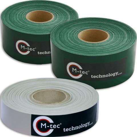 PVC Sichtschutzstreifen Designset 65m - 2x 7,5cm Breit moosgrün- 1x 4cm Breit steingrau M-tec Profi-line ®