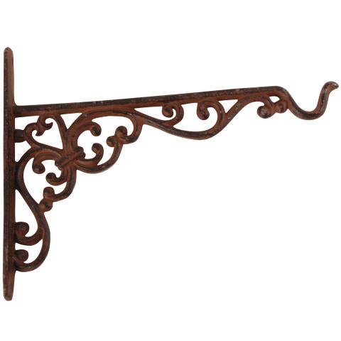Haken für Blumenampel -  rost-braun mit Ornament