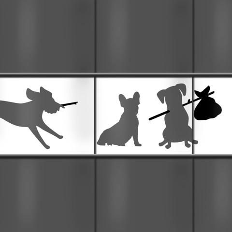 Kreativer Zaunstreifen mit Tiermotiv Hunde