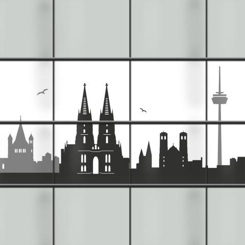 blickdichte PVC Streifen mit Köln Skyline