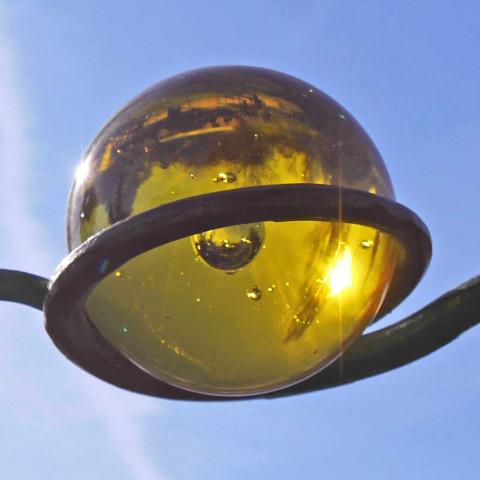 Rank - Dekostange Glas Kugel Gelb